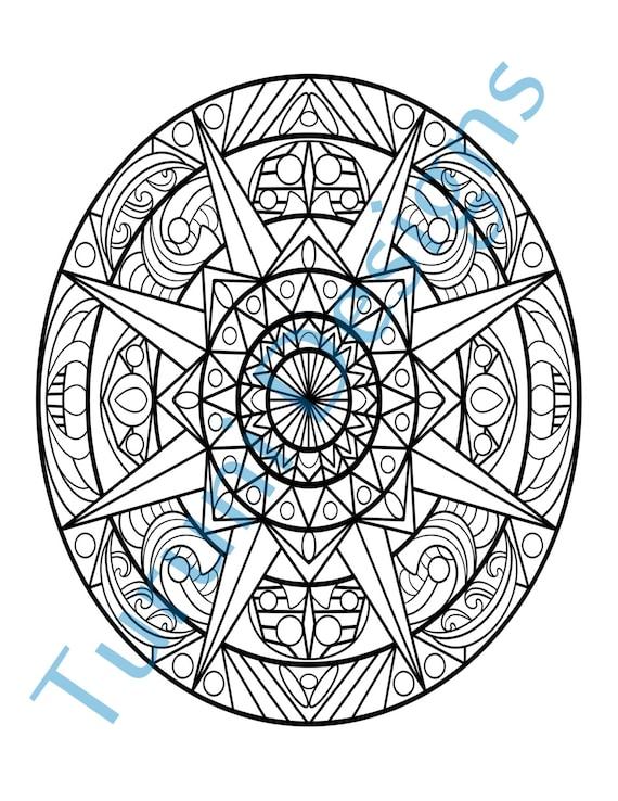 Adulto para colorear Mandala ovalado página Zen imprimible | Etsy