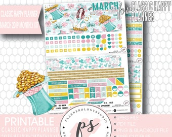 Lavender March 2019 Monthly View Kit Printable Planner Etsy