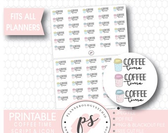Planner Stickers ScriptCoffee Time Labels Coffee Time Label Planner Stickers #915-020-001-WH