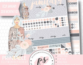 Shine January 2018 Monthly View Kit Printable Planner Stickers (for Erin Condren ECLP) | JPG/PDF/Silhouette Cut File