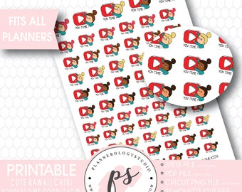 Youtube Time Icon Printable Planner Stickers | Kawaii Cute Hand Drawn Doodle Chibi Girl | JPG/PDF/Silhouette Cut Files