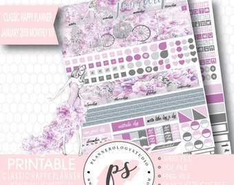 Cinderella January 2018 Monthly View Kit Printable Planner Stickers (for Classic Happy Planner) | JPG/PDF/Silhouette Cut File