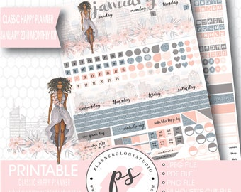 Fashionista (Dark Skin Tone) January 2018 Monthly View Kit Printable Planner Stickers (for Classic Happy Planner) (JPG/PDF/Silhouette File)