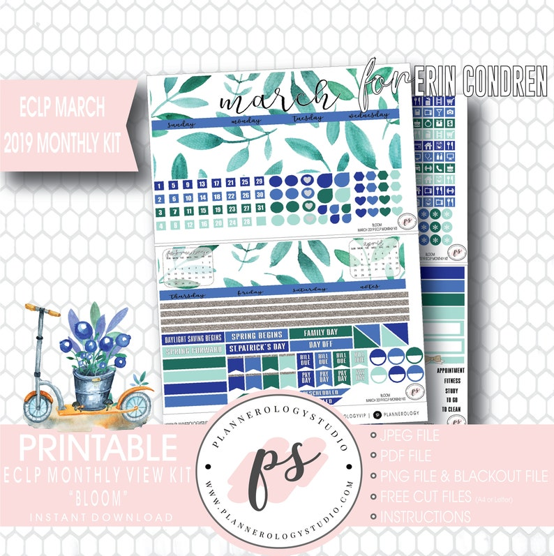 picture about Free Printable Planner Stickers Pdf called Bloom March 2019 Month-to-month Feeling Package Printable Planner Stickers (for Erin Condren ECLP) JPG/PDF/Free of charge Minimize Documents