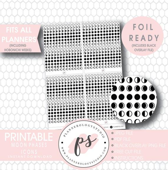 JPGPDFFree Cut FileBlack Overlay Bow Icon Foil Ready Digital Printable Planner Stickers