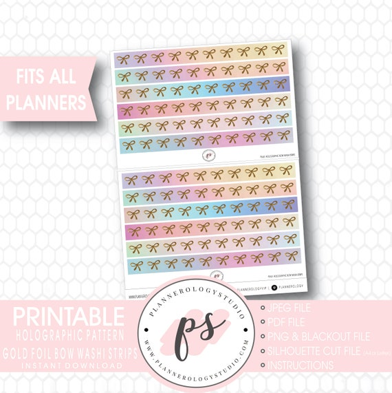 Galaxy Background Bow Icon Washi Strip Digital Printable Planner Stickers JPGPDFSilhouette Cut FileBlackout File