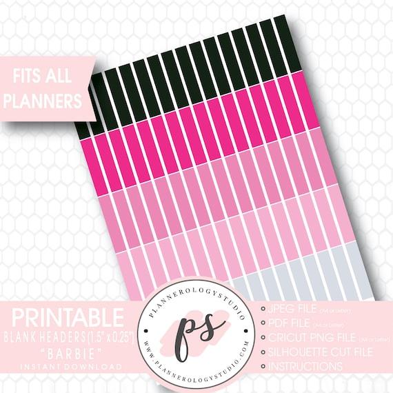 Barbie Blank Header Printable Planner Stickers Etsy