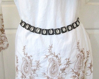 SALE! Vintage Cowrie Shell on Metal Squares Segmented Belt with Chain - c1980s