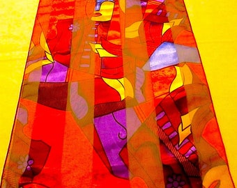 "Vintage 60"" x 13"" Brightly Colored Picasso Cubism Art Form Scarf -1980s"