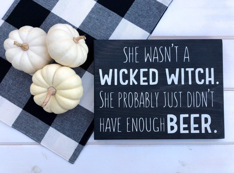 Beer Loving Wicked Witch Wood Sign image 0