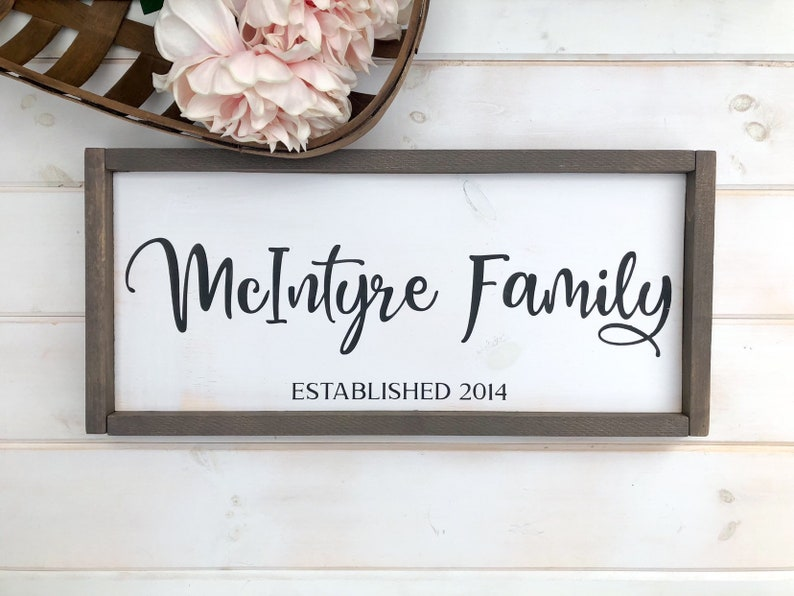 Personalized Family Name Established Wood Sign with a Custom image 0