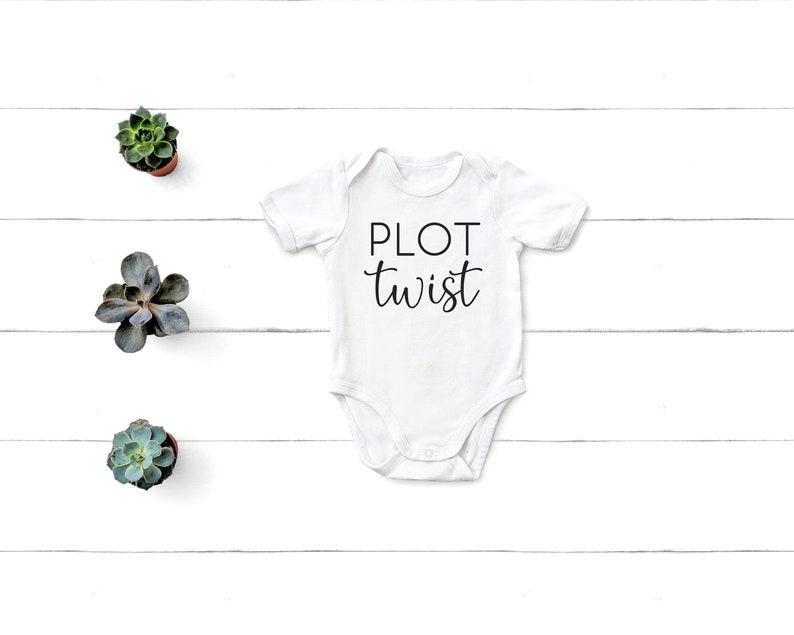 Plot Twist Baby Bodysuit Baby or Pregnancy Announcement White
