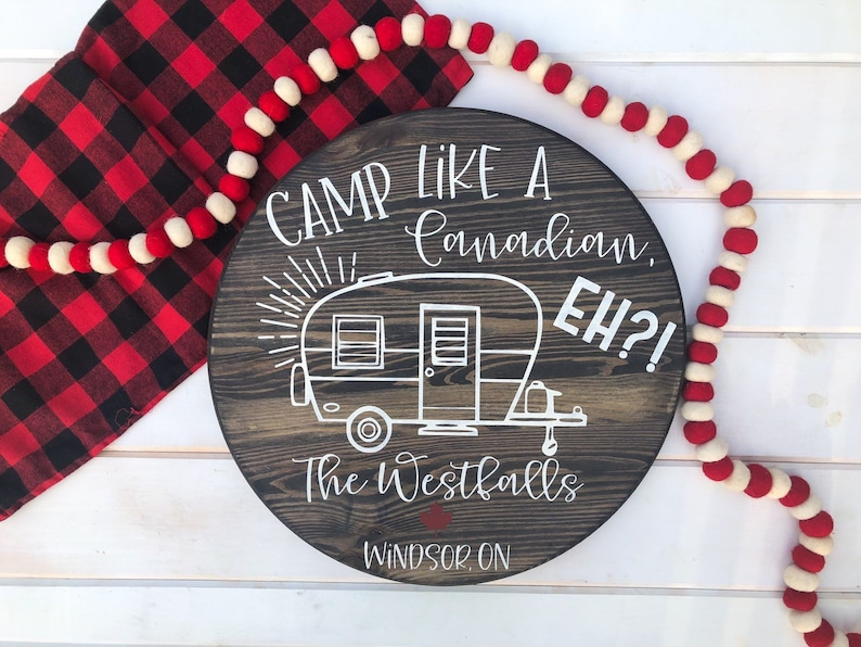 Camp like a Canadian Eh Personalized Camper Sign image 0