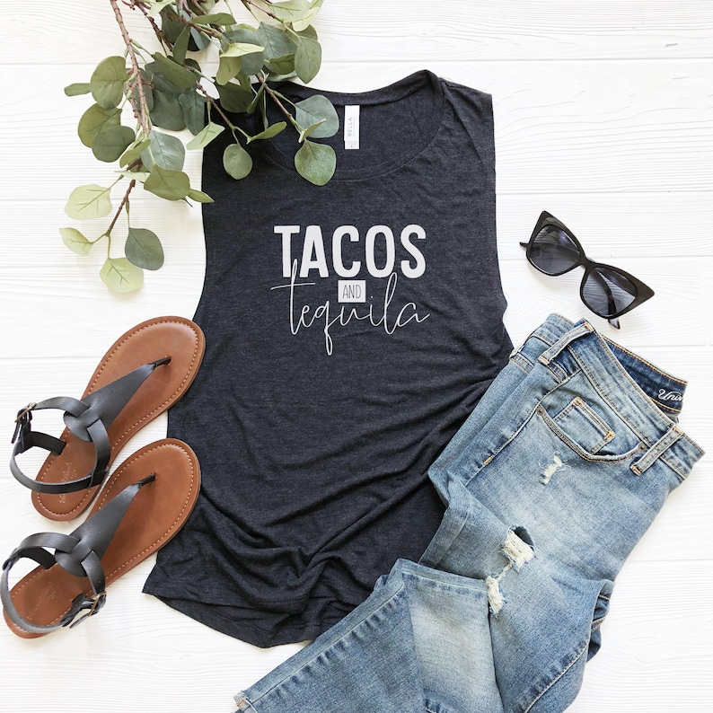 Tacos and Tequila Flowy Ladies Muscle Shirt image 0