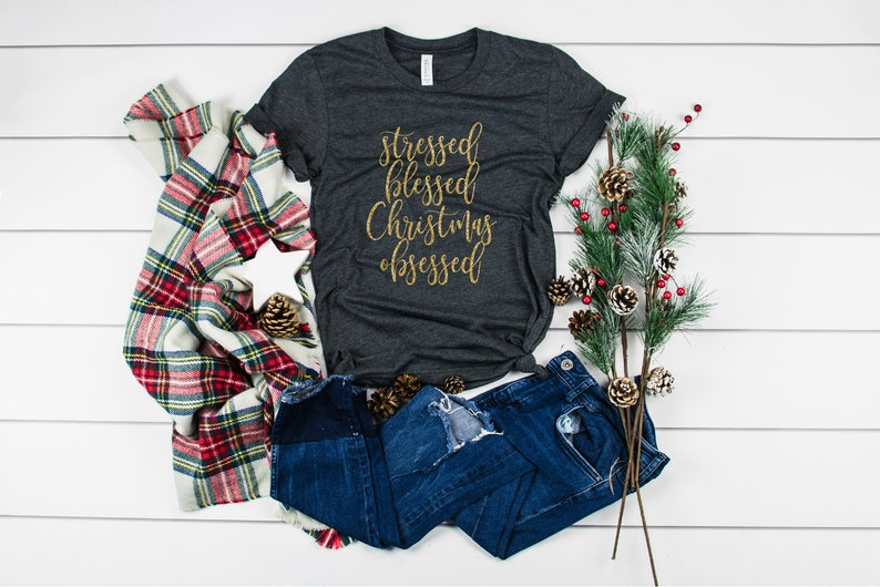 Christmas Shirt  Stressed Blessed Christmas Obsessed image 0