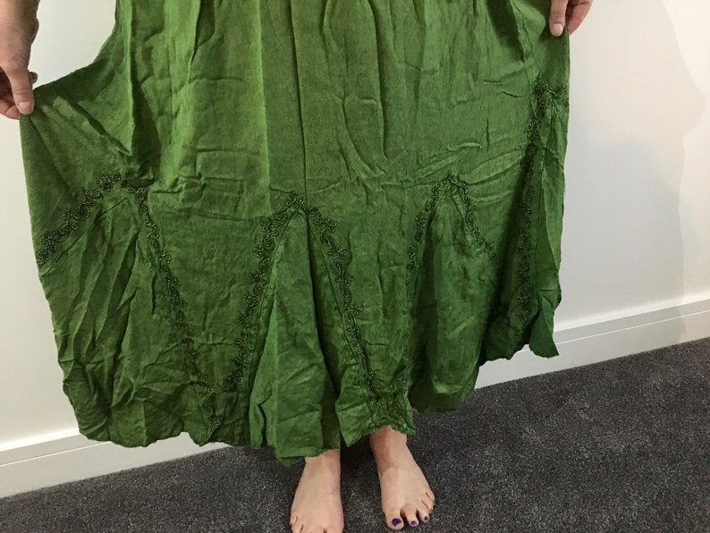 Green long hippy embroidered prairie wicca pixie fairy boho dress Size 8 10 12 14