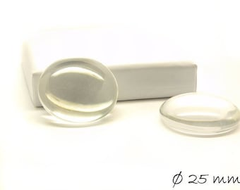 Clear 25 mm glass cabochons round 10 PCs