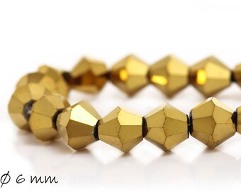 2mm Glasschliffperlen 202St Fädelloch 1mm #9323 Golden