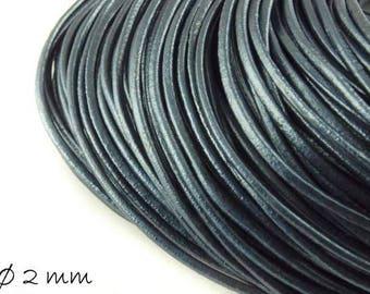5 m leather Strap anthracite Blue, Ø 2 mm