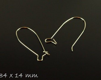 10 pcs kidney ear hook stainless steel silver, 34 x 14 mm Creole Earrings