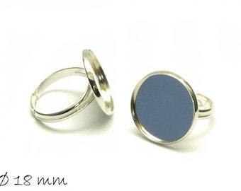 Ring blanks, platinum silver 18 mm cabochon version