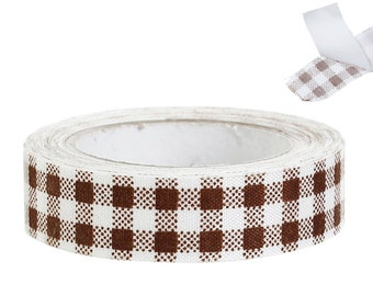 1 roll masking tape-fabric adhesold tape-brown-white-checkered