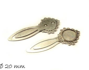 Bookmark Antique Silver Cabochon version 20 mm vintage