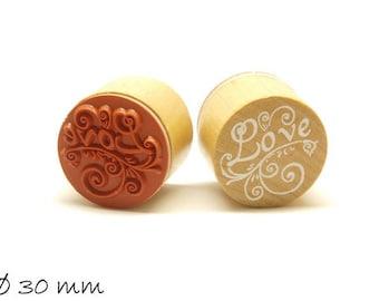 1 piece stamp 'Love' rubber stamp Ø 30 mm round
