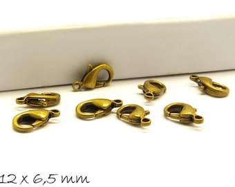 10 pcs carabiners Bronze 12 mm