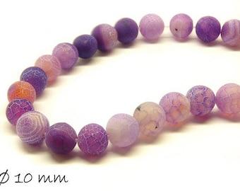 10 pcs matte cracked agate beads, 10 mm, purple