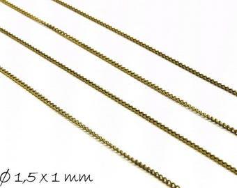 Chain bronze, fine, 1.5 x 1 mm