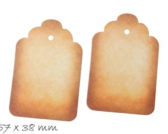10 pcs pendant cardboard label, labels in brown, 57 x 38 mm