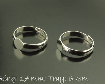 Ring blank area, platinum silver, 17 mm, adjustable, 6 mm