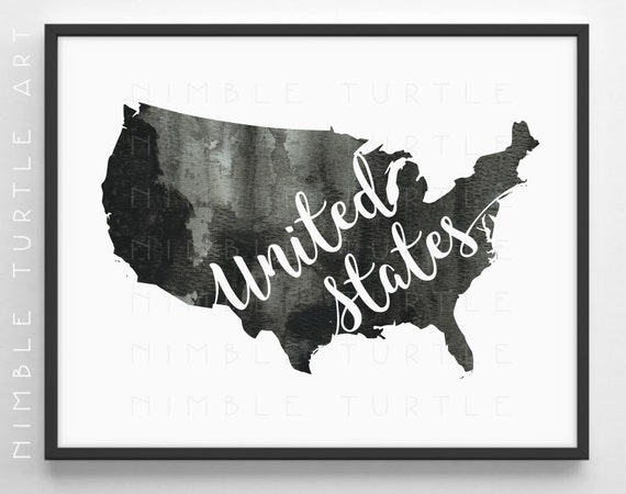 United States Outline Watercolor - Printable USA Wall Art - Black and White  - Gallery Wall Art
