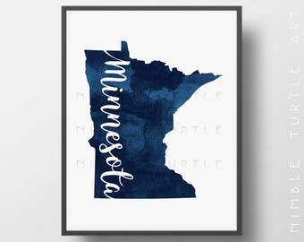 Minnesota State Outline Blue Watercolor -  Printable Minnesota Wall Art   -  Gallery Wall Art