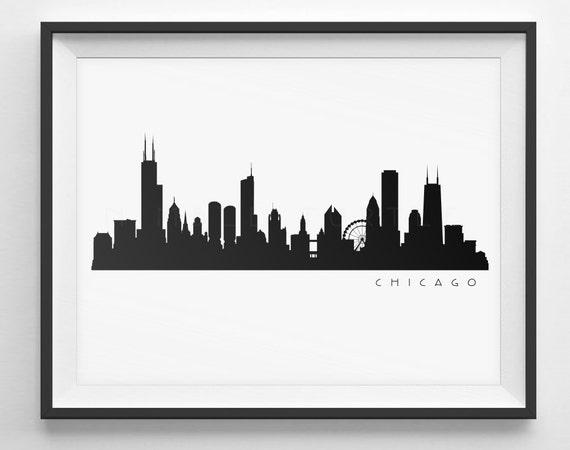 Chicago Skyline Silhouette Printable Skyline Pdf Png Etsy
