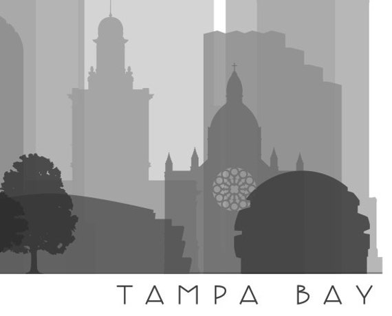 Tampa Bay Skyline Printable Download - Black and White - Grayscale - Tampa  Bay Florida Gallery Wall Art