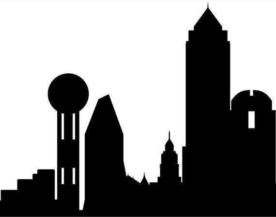 dallas skyline silhouette printable skyline dallas etsy
