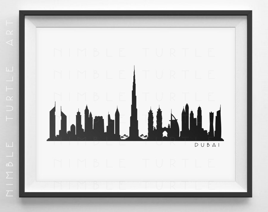 Dubai Skyline Silhouette Printable Skyline Dubai UAE   Etsy