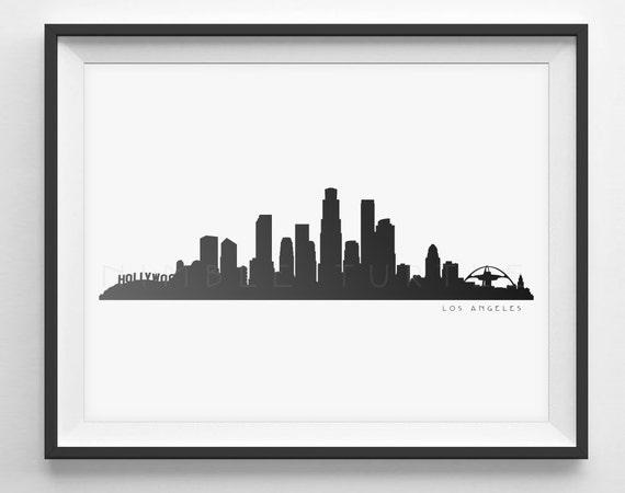 los angeles skyline silhouette druckbare skyline los | etsy  etsy