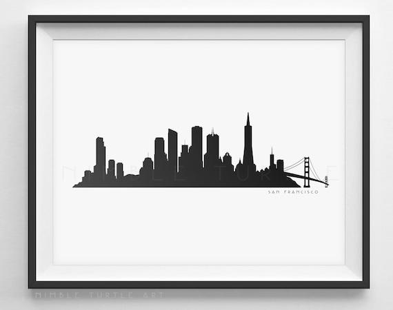 san francisco skyline silhouette printable skyline etsy