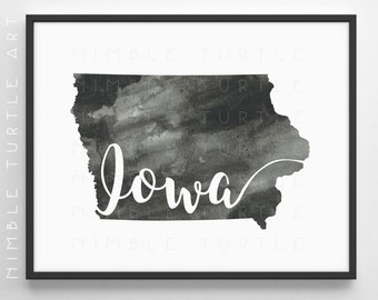 Iowa State Outline Watercolor -  Printable Iowa Wall Art  -  Comes with Blank State Outline SVG  -  Gallery Wall Art