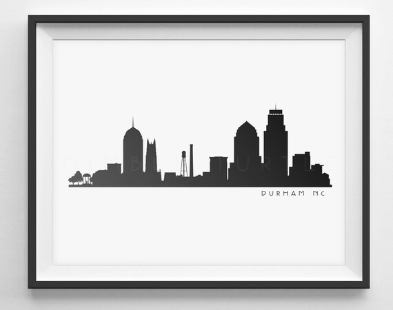 Durham Nc Skyline Silhouette Printable Download Black And Etsy