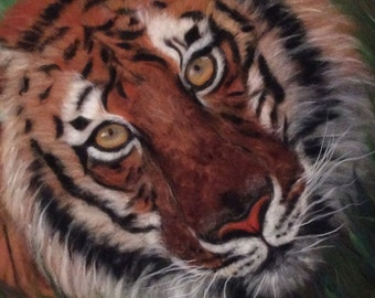 """wool picture, """"Brown Tiger"""" picture, holiday gifts, woolpaint, Décor Wall Art, handmade painting, Textil art, Fiber art, picture of wool"""