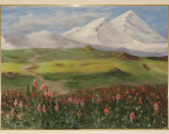 """Already sold! Artwork is not available! Please contact me to make the personal order. Wool picture, wool paint """"Landscape of the Alps"""""""