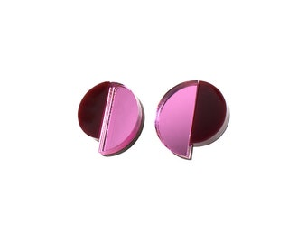 Art Deco Round Earrings, Geometric Earrings, Laser Cut Stud Earrings, Pink Mirror Acrylic, Burgundy Perspex, Plexiglass, Stud Earrings