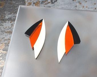 Art Deco Earrings, Geometric Earrings, Laser Cut Earrings, Burnt Orange Mirror Acrylic, Ivory and Black Plexiglass, Lazer Cut Earrings