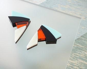 Art Deco Earrings, Geometric Earrings, Laser Cut Earrings, Mint Green, Stud Earrings, Lazer Cut Earrings, Acrylic Earrings