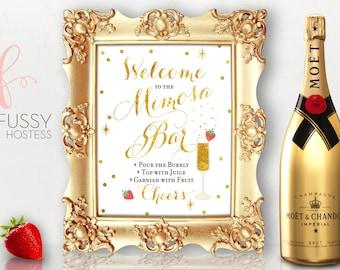 mimosa bar sign champagne bar sign bubbly bar bridal shower birthday wedding sign bar sign diy printable sign instant download