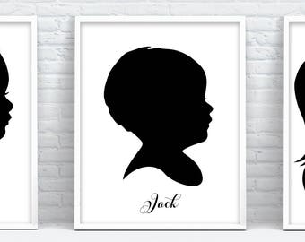 graphic regarding Printable Silhouettes called Little one silhouette Etsy